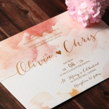 Blushing Rouge with Foil Wedding Invitation