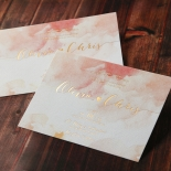 Blushing Rouge with Foil Wedding Invite Card Design