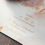 Blushing Rouge with Foil Wedding Invitation Card