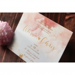 Blushing Rouge with Foil Wedding Card