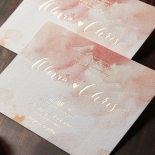 Blushing Rouge with Foil Wedding Invitation Design