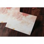 Blushing Rouge with Foil Wedding Invitation Card Design