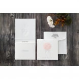 Wedding card design with rose bouquet embossed design