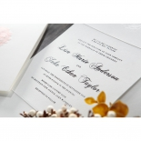 Rose patterned classic invitation with thermography printed inner paper