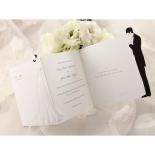 Three panel wedding invitation with black and white theme
