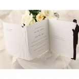 Classic black and white wedding card with flower embossing on the left