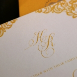 Charming Lace Frame with Foil Wedding Invite