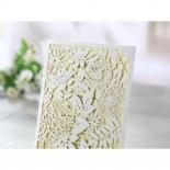 Embossed printed invite card inside the flower garden inspired pocket