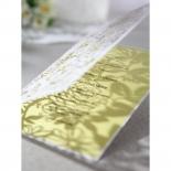 Laser cut flower enclosure with mustard yellow invitation