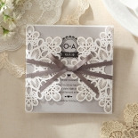 Classic floral inspired laser cut invite with bow
