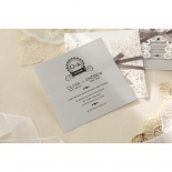 Raised ink printed square bridal card with contemporary fonts