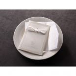 Traditional white ribbon designed invite and envelope placed on a plate