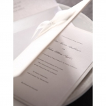 Booklet designed white wedding invitation with ribbon and blank raised ink