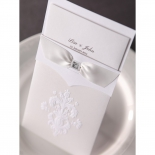 Ribbon accented damask pocket with classic theme