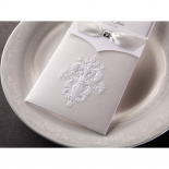 White themed classic invite with elaborate damask design