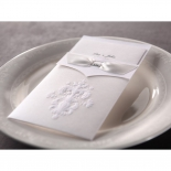 Traditional damask designed pocket invitation on a white place