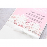 Pink bridal invite inserted into the matte sleeve designed with flowers