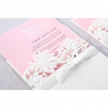 Pink and white themed classic garden invitation featuring lace laser cut and flowers