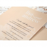 White and blank combination print on a flower designed salmon party card