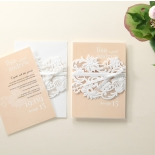A pair of identical flower designed laser cut pocket invites with salmon themed insert
