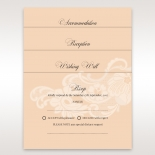 Transparent flower design on salmon coloured accessory cards