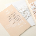 Salmon and white combination on traditional flower invite