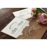 Country Lace Pocket Wedding Invite Card