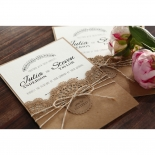 Country Lace Pocket Invite Card Design