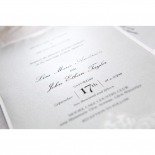 Black embossed bride and groom names on grey pearl paper