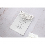 Crystal embellished classic invitation designed with jewel and intricate laser cut sleeve