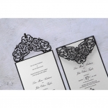 Thermography printed white pearl card attached to classically designs black sleeve