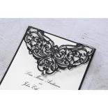 Jewel embellished black Victorian laser cut wedding card with jewel