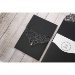 Laser cut patterned black shimmer pocket wedding invitation
