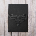 Shimmering black pocket invite with laser cut and jewel