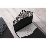 Gem embellished black formal invite with laser cut designed cover
