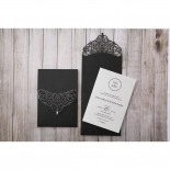 White thermography printed wedding card with black pocket