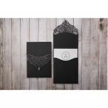 Black laser cut sleeve with white insert personalised with classic themed logo