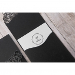 Laser cut designed black and white floral invitation with logo