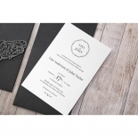 White traditional invite party card with thermography printing on top of its black formal pocket