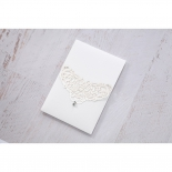Crystal adorned vintage white laser cut wedding invite sleeve