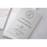 Classic designed invite featuring black traditional details and fonts