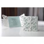 Garden inspired white and blue wedding invitation