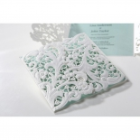 Blue and white gated bridal card featuring laser cut flowers