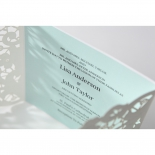 Soft blue thermography printed square insert on matte sleeve with flowers