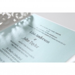 Floral themed wrap with soft blue thermography printed insert