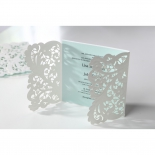 Blue themed classic wedding invitation with flower designs
