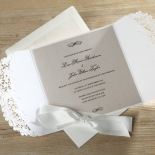 Enchanting Ivory Laser Cut Floral Wrap Wedding Invite Card