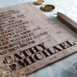 Etched Cork Letter Wedding Card