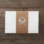 Ribbed outer card secured with brown paper band