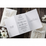 White Tri fold canvas bridal card with elegant font